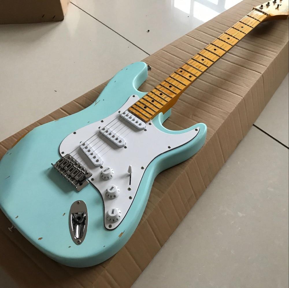 Новый Стандартный Custom ST электрогитара, ручной работы 6 струн gitaar, stratocaster клен гриф гитары ra, реальные фотографии,