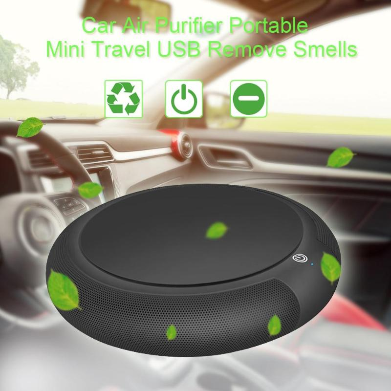 Mini Car Air Purifier USB Black Portable Travel Air Cleaner Formaldehyde Odor Bacteria Purifying Device Ionizer with HEPA Filter
