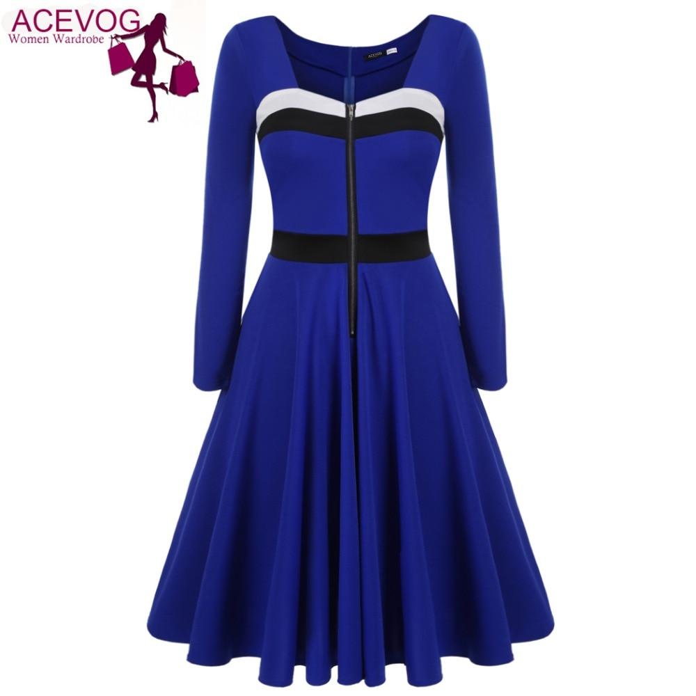 acevog autumn winter vingtage women long sleeve colorblock patchwork dress square neck party pleated swing dress knee length - Color Block Vetement