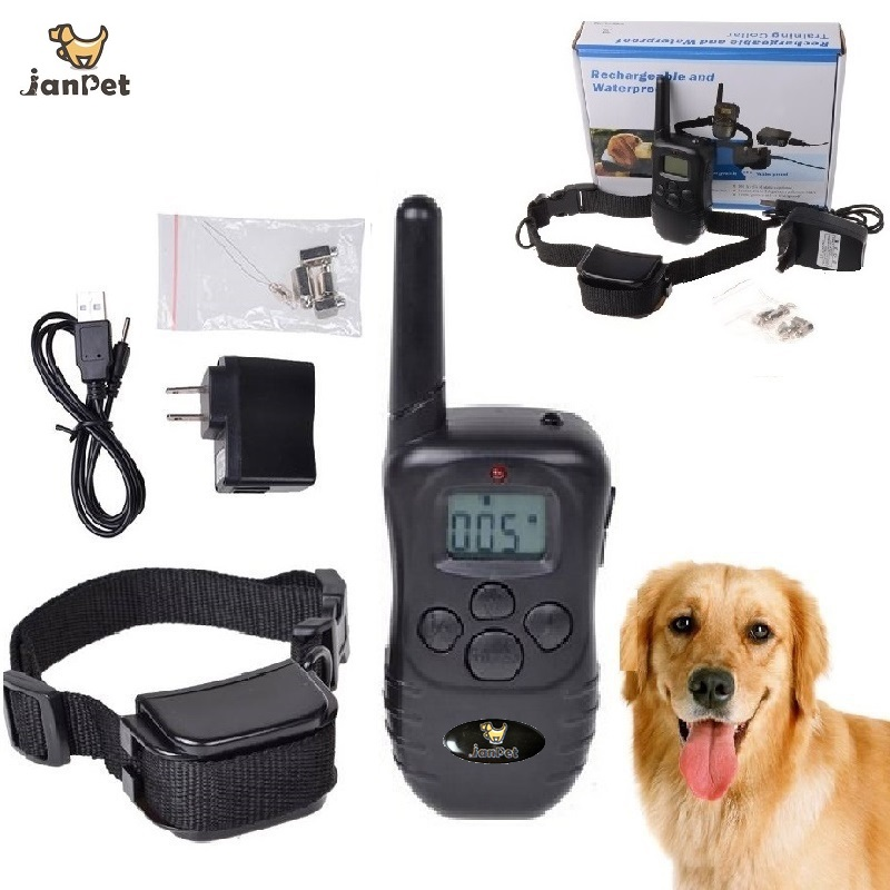 janpet-rechargeable-and-water-resistant-300-meters-remote-electric-shock-anti-bark-pet-dog-training-collar-with-lcd-display