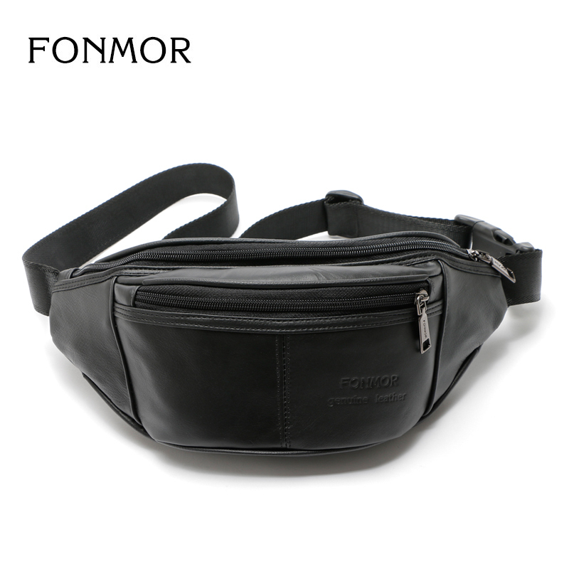Genuine Leather waist bag for men Fashion Fanny Pack Leather Belt Bag Waist Pack Bum Bag money Belt Waist Pouch Molle Pochete waist bag