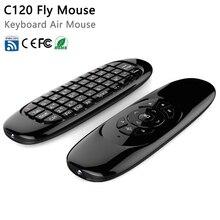 C120 Teclado Inalámbrico giroscopio Fly Air Ratón Android Mando a distancia Recargable 2.4 Ghz Teclado para Smart Tv Mini PC