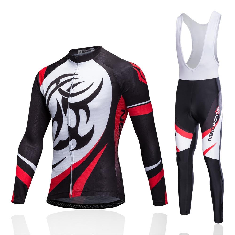 2017 Brand Long Sleeve Cycling Jersey Bib Pants Mtb Bicycle Clothes Set Ropa Maillot Wear Road Mountain Bike Clothing Set Kits shengqi men s long sleeve cycling jersey pants set green black m