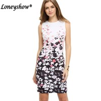 New Design Cocktail Party Sleeveless Stretchy Bandage Bodycon With Sashes Floral Printed Sheath Knee Length Pencil