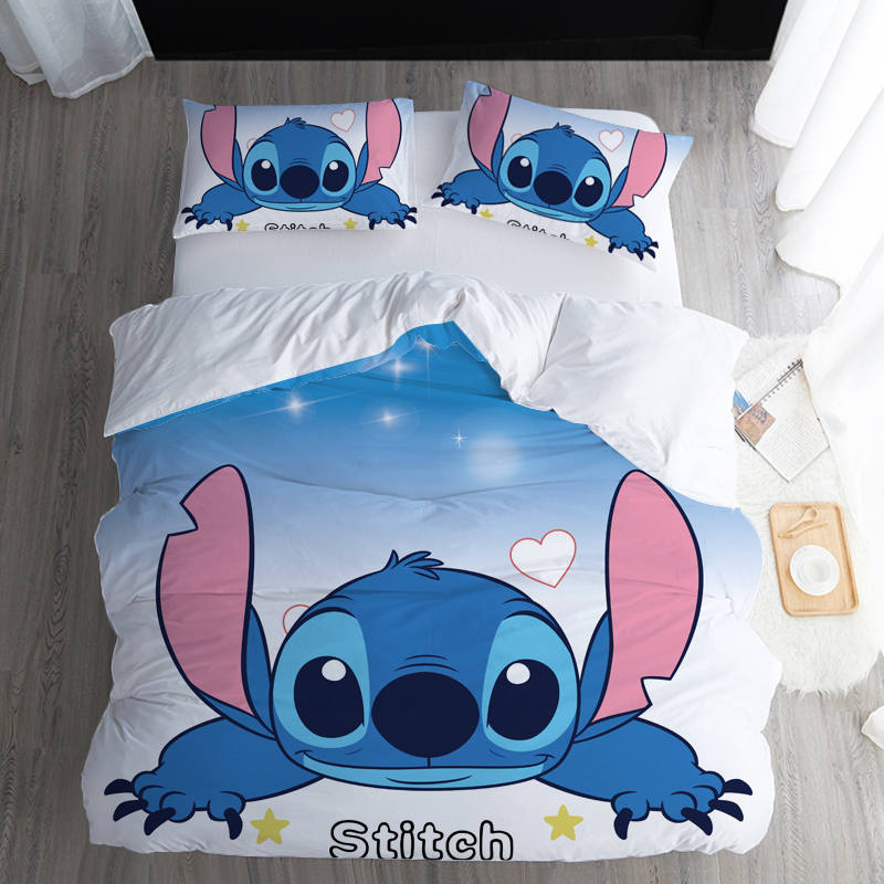 3D Disney Home Lilo And Stitch Bedding Set Queen Size Quilt Cover Twin Bedroom Decor For Kids Home Single Bedspread Boy's Linens