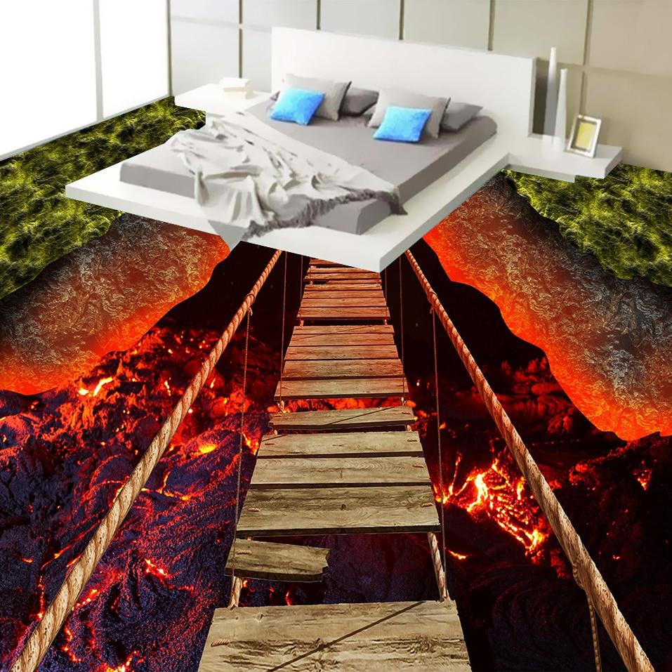 nach 3d boden tapete vulkanischen lava seil holz brücke schlafzimmer