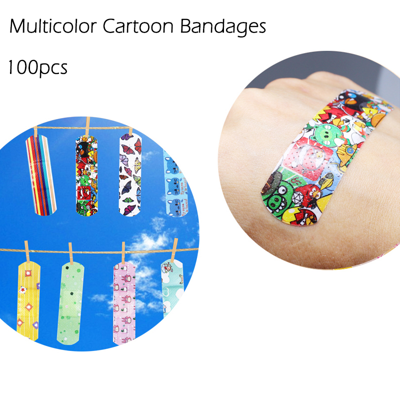 Hot Sale 100 PCS Cartoon Bandages Adhesive Bandages Hemostasis Band Aid Sterile Stickers Wound First Aid For Kids Children 30pcs pack random cartoon wound paste first aid band medical waterproof adhesive bandages wound dressing band for baby care
