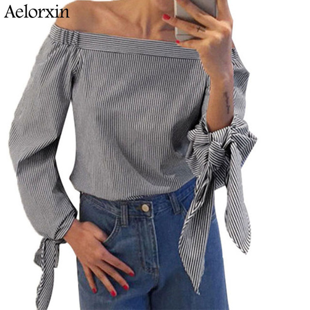 dbe484bf66706f Women Sexy Blouses Slash Neck Off Shoulder Bow Long Sleeve Casual Tops  Shirts Blue White Striped Party Blusas 2017 Plus Size