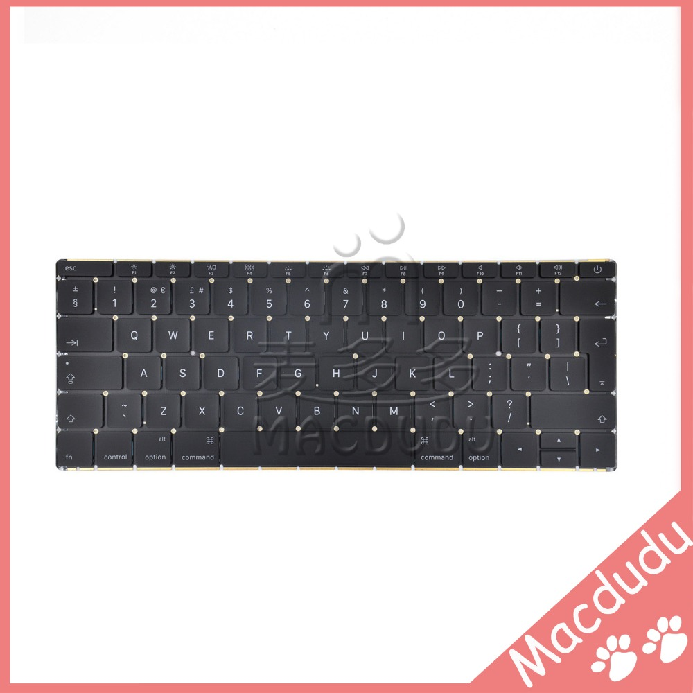 New UK Keyboard For MacBook Retina 12 A1534 2015 year genuine 12 inch a1534 grey palm rest 2016 year for macbook air retina a1534 palmrest top case topcase us keyboard with backlight
