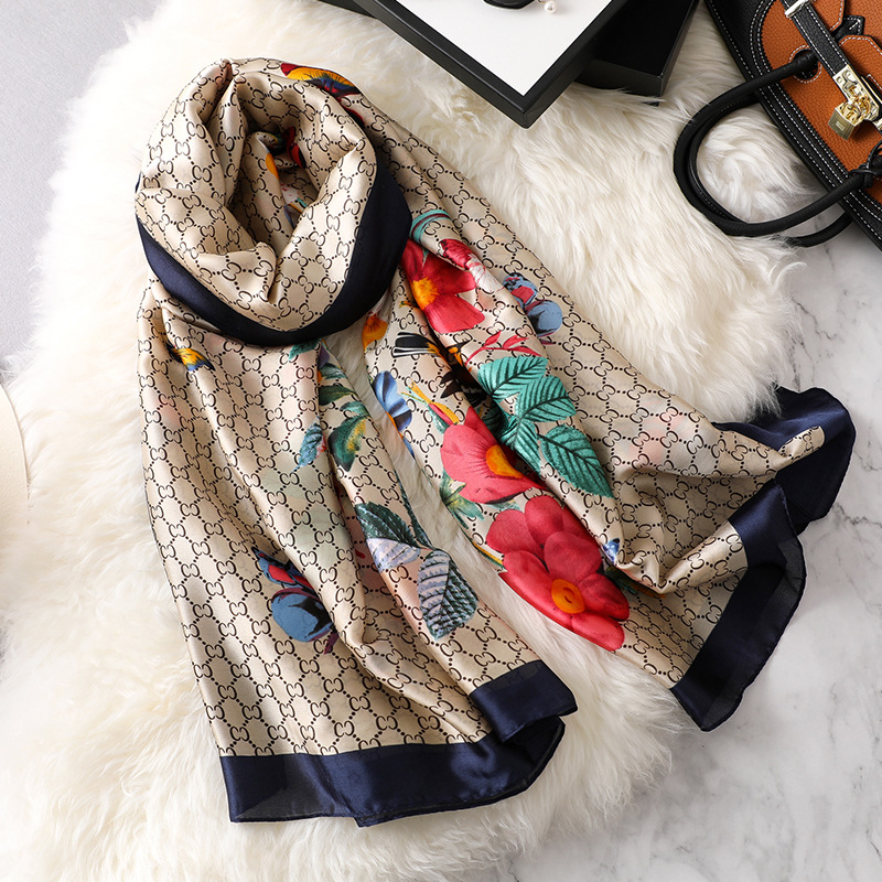 Image 2 - new ladies scarf summer flower pattern silk scarf spring and autumn wild oversized shawl Europe and America wild beach towelWomens Scarves   -