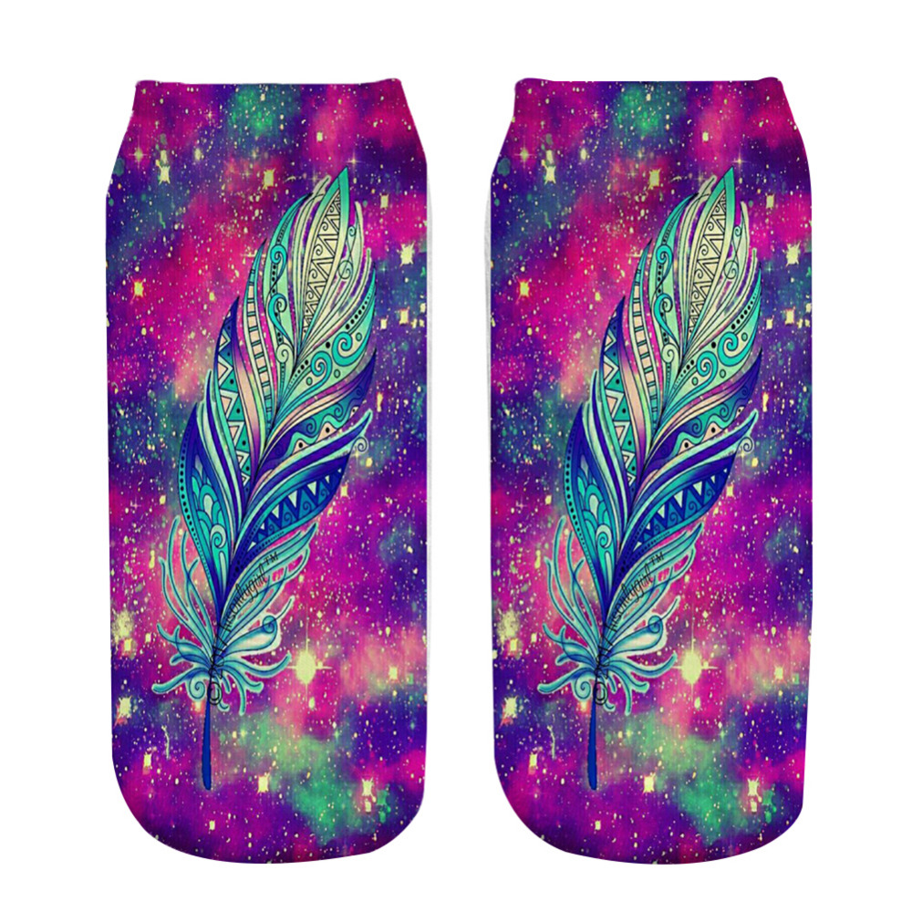 Starry Sky Maple Leaves Printing Funny <font><b>Sock</b></font> for Girl Casual Cartoon Design <font><b>Happy</b></font> <font><b>Socks</b></font> <font><b>Unisex</b></font> Low Cut Ankle Christmas <font><b>Socks</b></font> image