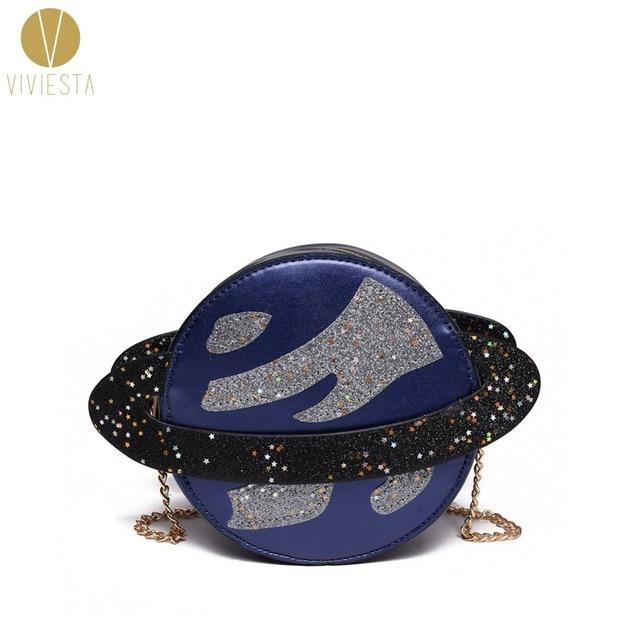 2718351a5d9d METALLIC GLITTER PLANET CROSSBODY CHAIN BAG - Women s Girls  Cute Lolita Bling  Sparkling Shiny Novelty Mini Purse Bag Handbag