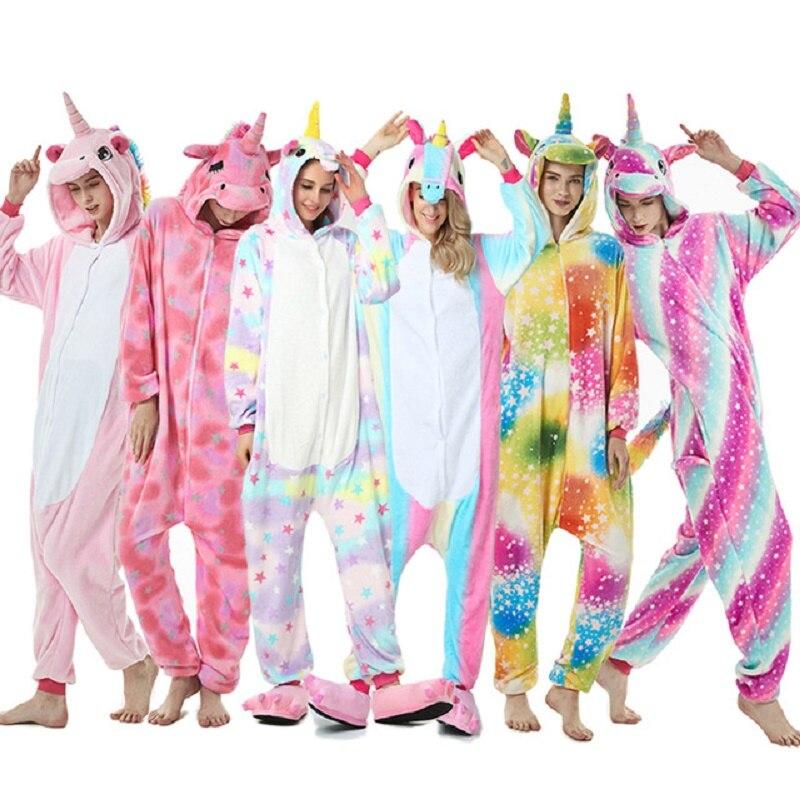 Familie Bijpassende Pyjama Kid Adult Kigurumi Eenhoorn Onesie Winter Vrouwen Animal Kostuum Cosplay Onepiece Kind Jongen Meisje Jumpsuit Groot Assortiment