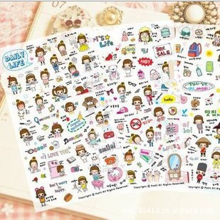 Daily Life 4 Sheet Cute Stationery Travel Pvc Kawaii Stickers/ Planner Stickers /sticky Notes/notepad/papelaria