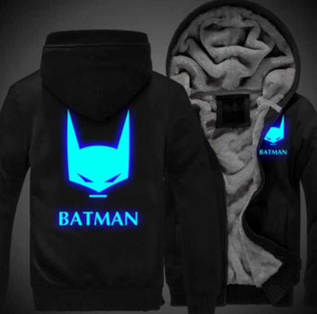 Batman Men Women Cosplay Luminous Zipper Jacket Sweatshirts Thicken Hoodie Coat
