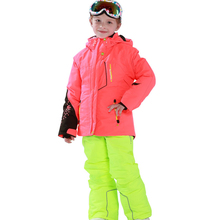 Kids Red Ski Jacket Match Solid Color Ski Pants for Boys and Girls Windproof Waterproof -30 Degree Free Shipping