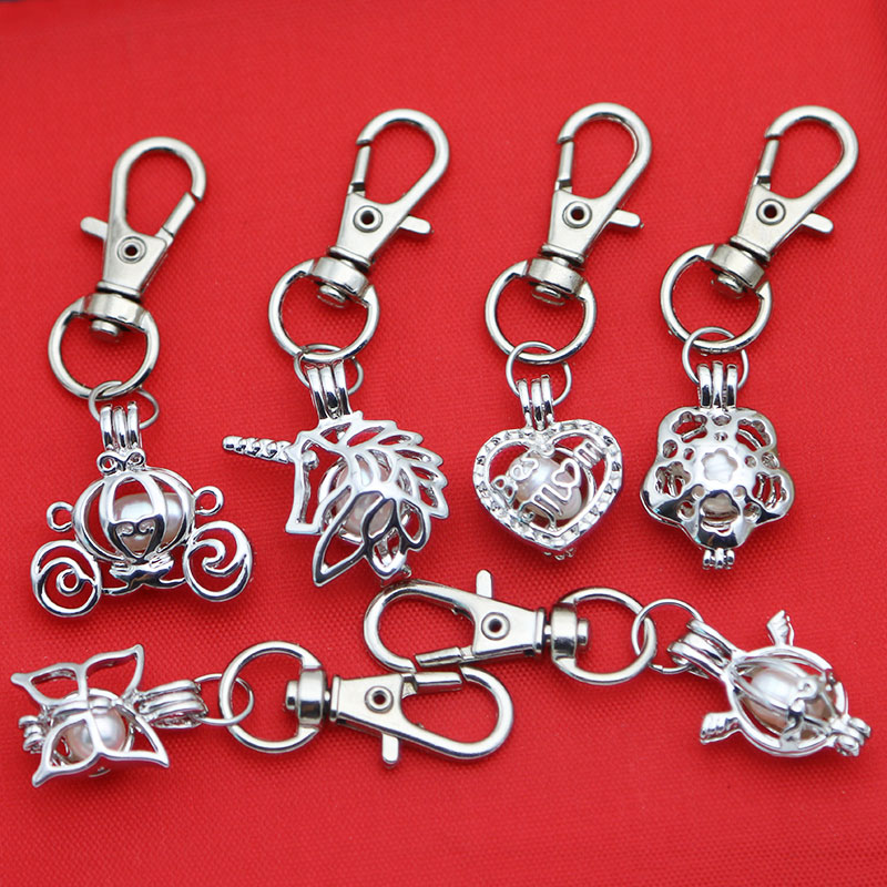 Pearl Keychain Cage Jewelry Locket Pendant Findings Cage Essential ... bec6c2972c