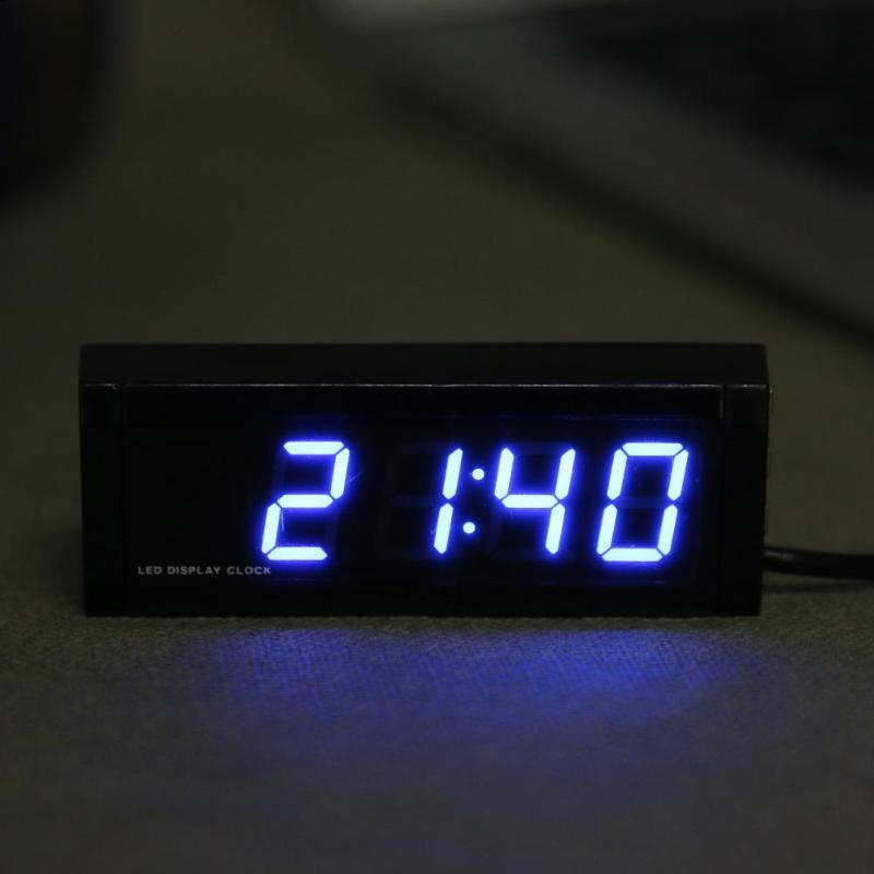 1Pcs Universal Car Interior Thermometer Clock Voltmeter LED Digital Display Calendar
