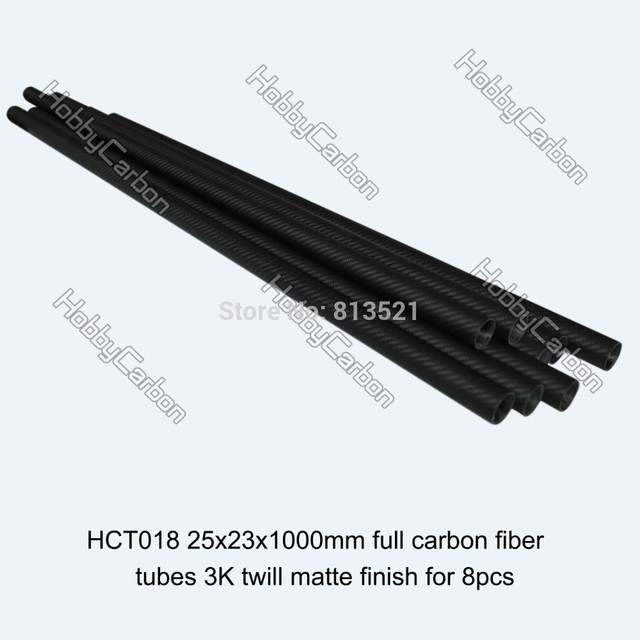 8pcs wholesale price 25x23X1000mm full 100% carbon fiber 3k twill matte follow tube pipe rod boom for landing gear