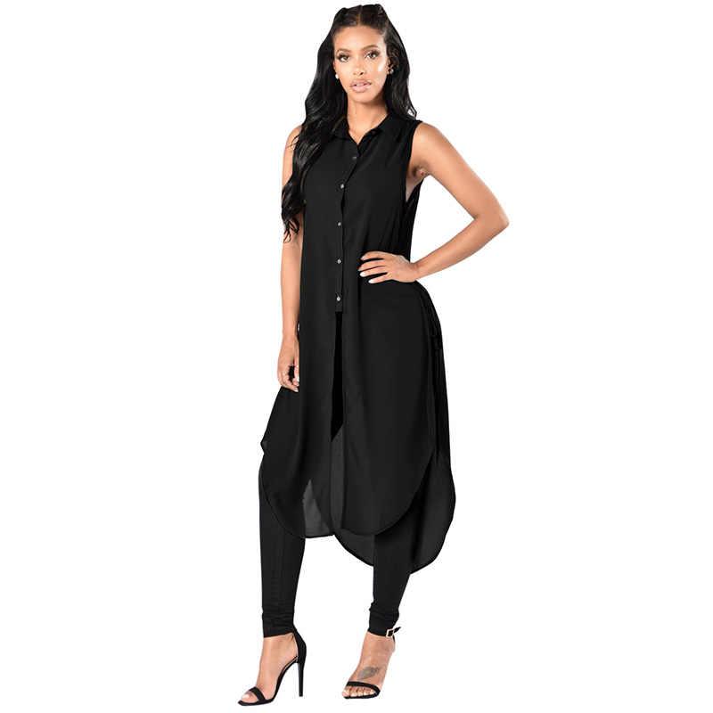 0a029d8fd30 Корейский стиль Для женщин топы без рукавов Длинные рубашки Шнуровка по бокам  высокий разрез пуговицах Блузка