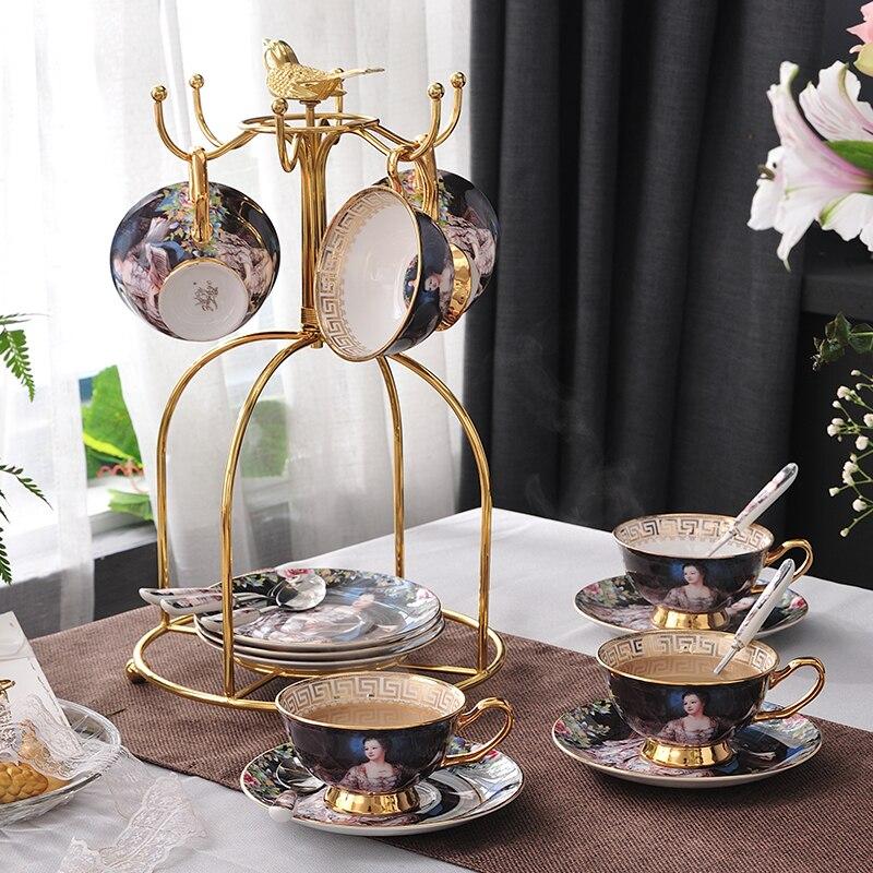 Coffee cup set European luxury retro ceramics tea cup set beauty Lady Bone China porcelain British Teatime Afternoon Coffee Cups