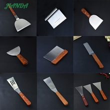 JIANDA Stainless Steel Fried Shovel Spatula Steak Pizza Grasping Cutters Spade Pastry Cook Tools Wooden Handle Kitchen Utensils