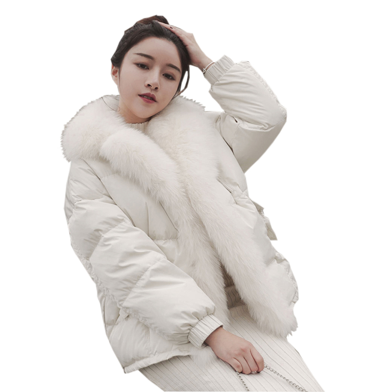 Real Fox Fur   Down   Jacket 2018 Winter White Short   Down     Coats   Outwears Ladies Loose   Down     Coats   White Duck   Down   Overcoats YP2104