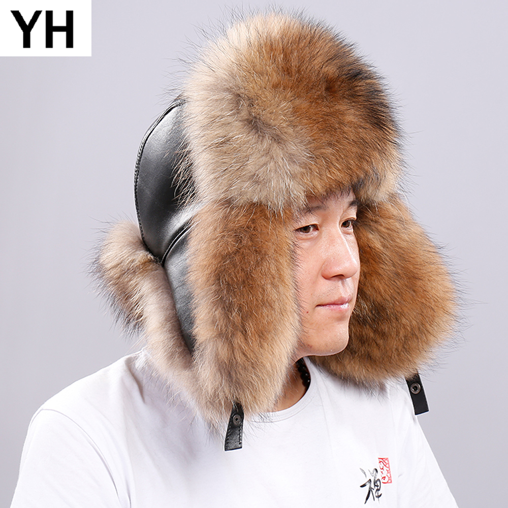 Hat Cap Bomber-Caps Fox-Fur Russia Winter Real Genuine Hot Warm Men Soft Real-Sleepskin