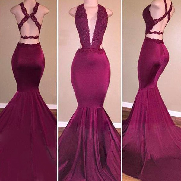f03a66cac4a5 Vestido de Festa Silk Like Satin V-Neck Mermaid Prom Dresses Court Train  Gala Jurken Mermaid Robe de bal Longue