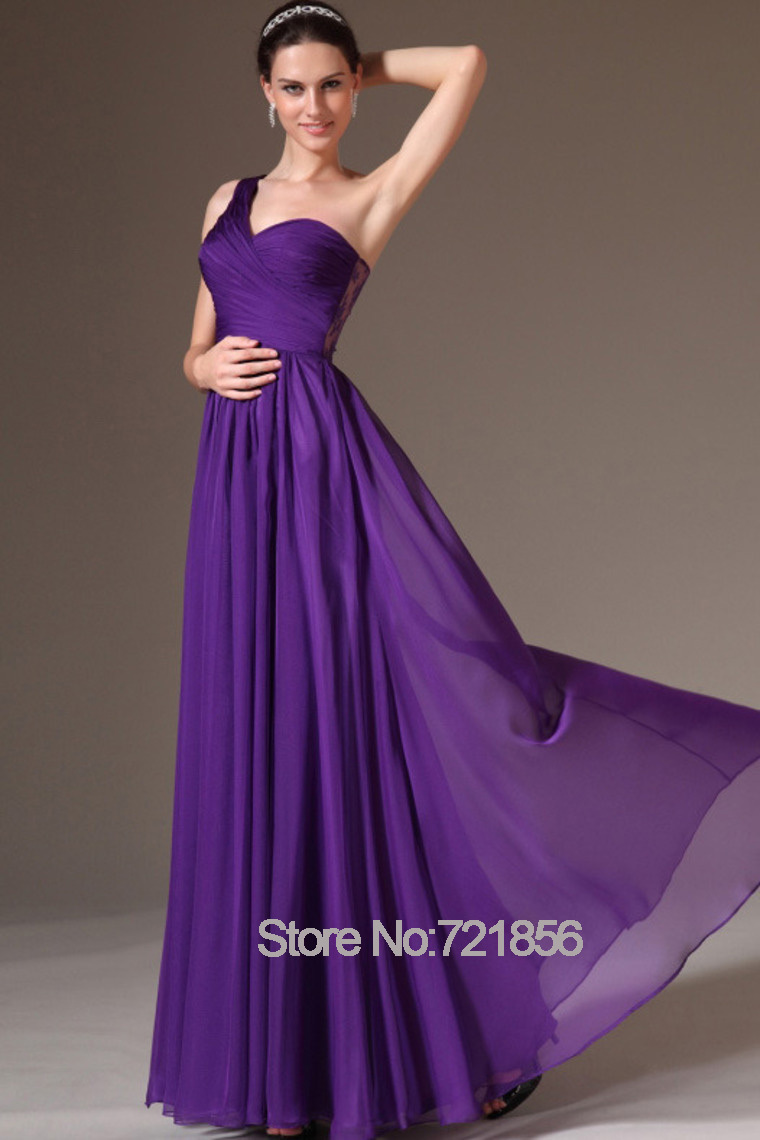 Purple Bridesmaid Dresses Chiffon A Line One Shoulder Scoop Summer Style Long Maxi For Wedding Custom Made Plus Size In From