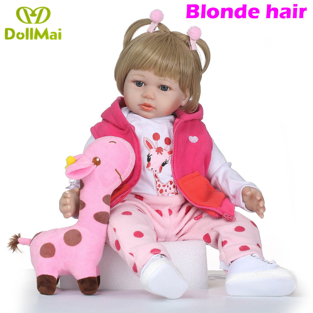 Reborn dolls 58cm blonde hair wig silicone reborn baby dolls real baby girl princess toddler bebe doll with giraffeReborn dolls 58cm blonde hair wig silicone reborn baby dolls real baby girl princess toddler bebe doll with giraffe