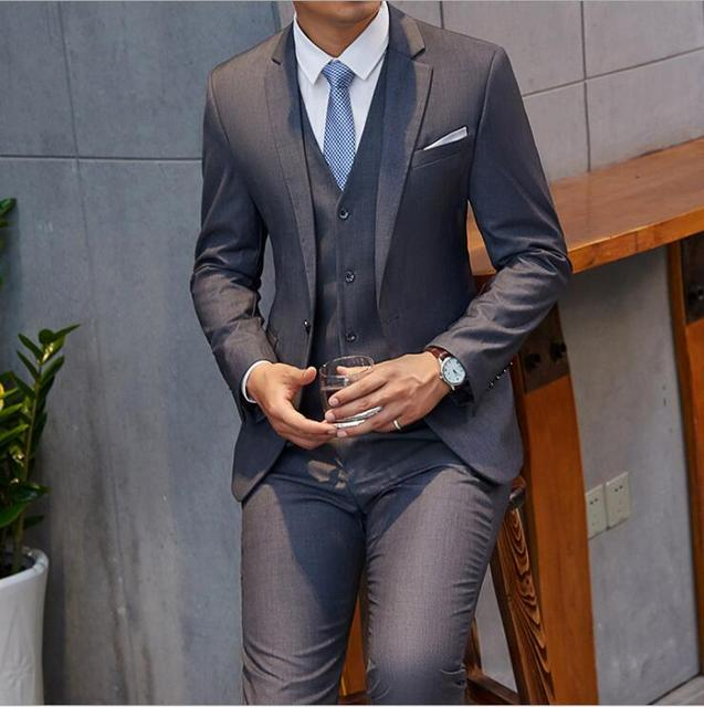 US $96 9 5% OFF|2018 New Brand Hot Gray Suit Men Groom Tuxedo Style Blazer  Slim Fit 3 Piece Prom Wedding Suits Terno Masculino jacket+Pant+Vest-in