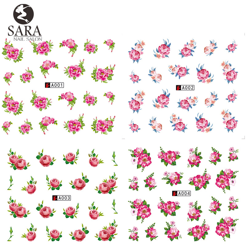Nail Salon 1 Sheet Flower Full Cover Nail Sticker Water Transfer On Nail Or Pedicure Art Sticker On Finger Nail SAA001-004 teflon cover sheet 16 x16 transfer paper iron on heat