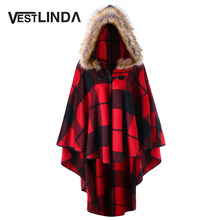 Plus Size Plaid Trench Coat High Low Hooded Cloak New Year Fashion Women Hooded Capes Autumn Winter Red Black Coat