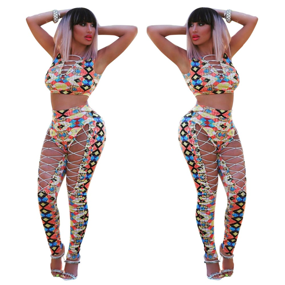 2018 Fashion Women Sexy Playsuits Winter Vestidos Rompers Ladies 2 Pieces Bodycon Night Club bodysuits Lace up Print Jumpsuits