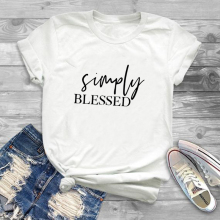 Simply blessed t shirt women funny Christian tshirt mom jesus tees tops ladies fashion clothes Cotton Hipster drop ship