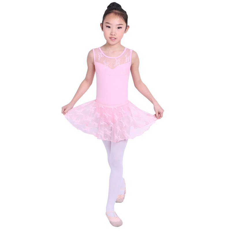 40ccfb5f5 Baby Kids Girls Dancewear Tutu Dress Lace Mesh Flowers Sleeveless ...