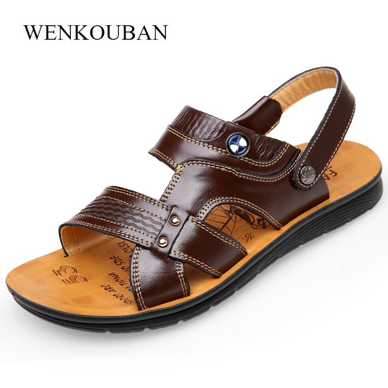 Summer Sandals Men Genuine Leather Beach Shoes Flip Flops Male Breathable Shoe casual Sandal Men 2018 Zapatos Hombre