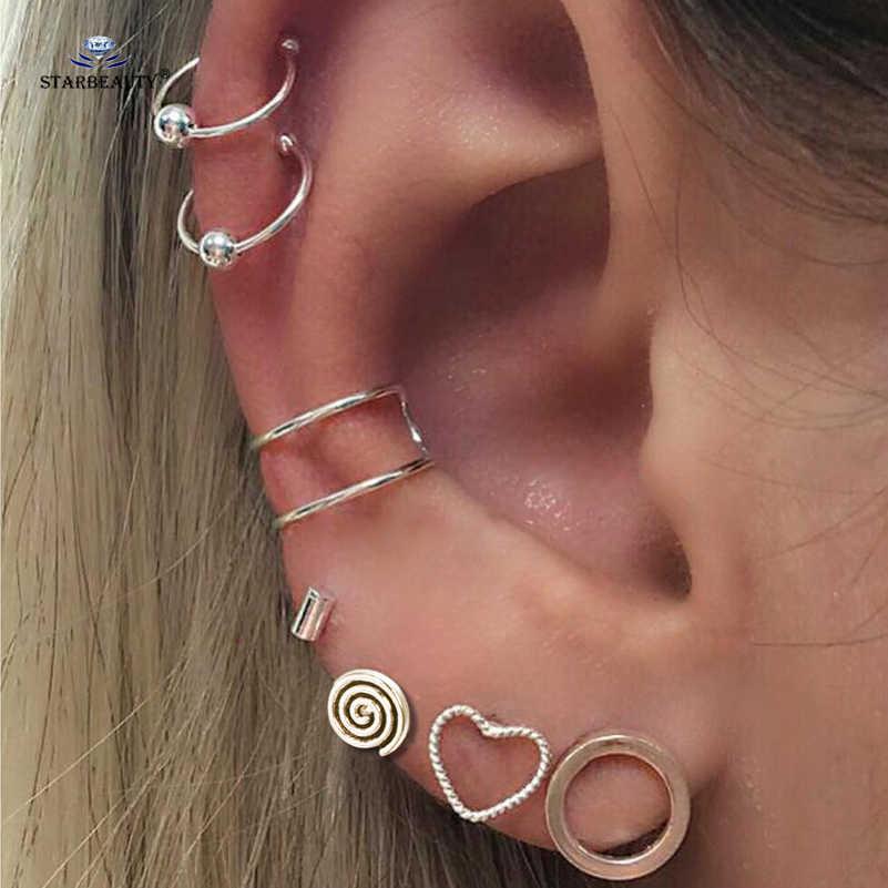 Starbeauty 7pcs/lot Bohemian Round Heart Ear Fake Piercing Helix Piercing Tragus Fake Nose Ring Pircing Earrings Body Jewelry