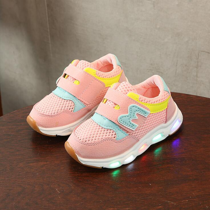 High Quality All Season Children Casual Shoes LED Lighted Breathable Kids Sneaker Glowing Shinning Baby Girls Shoe