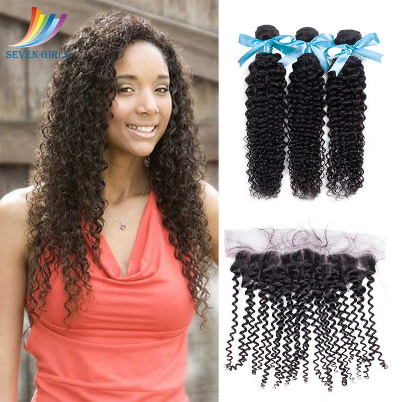 Sevengirls Peruvian Deep Curly 10-28 Inch Bundles With Frontal Grade 10A Natural Color Human Hair 3 Bundles With 13*4 Frontal
