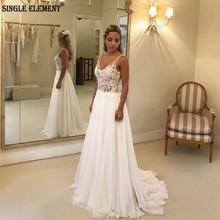 SINGLE ELEMENT Illusion Lace Bridal Dress Sexy Backless Wedding Dresses