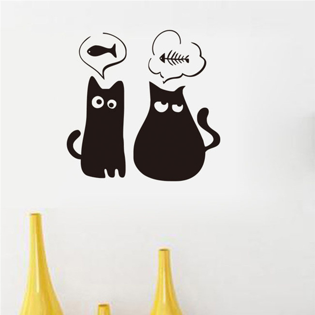 Simple Design Cartoon Hungry Cat Delicate Removable Wall Stickers