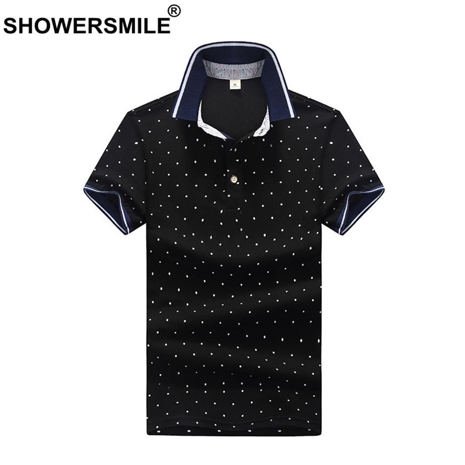 SHOWERSMILE Black Polka Dot Men   Polo   Shirt Regular Fit Cotton Dots Big Size   Polo   Shirts T Male Summer Casual British Clothing