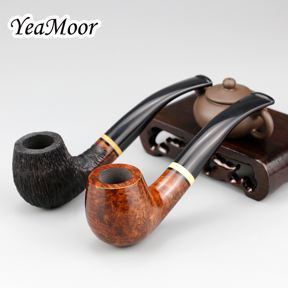 Classic Bent Briar Pipe 9mm Filter Handmade Smoking Pipe Traditional Bent Briar Wood Pipe Tobacco Pipe