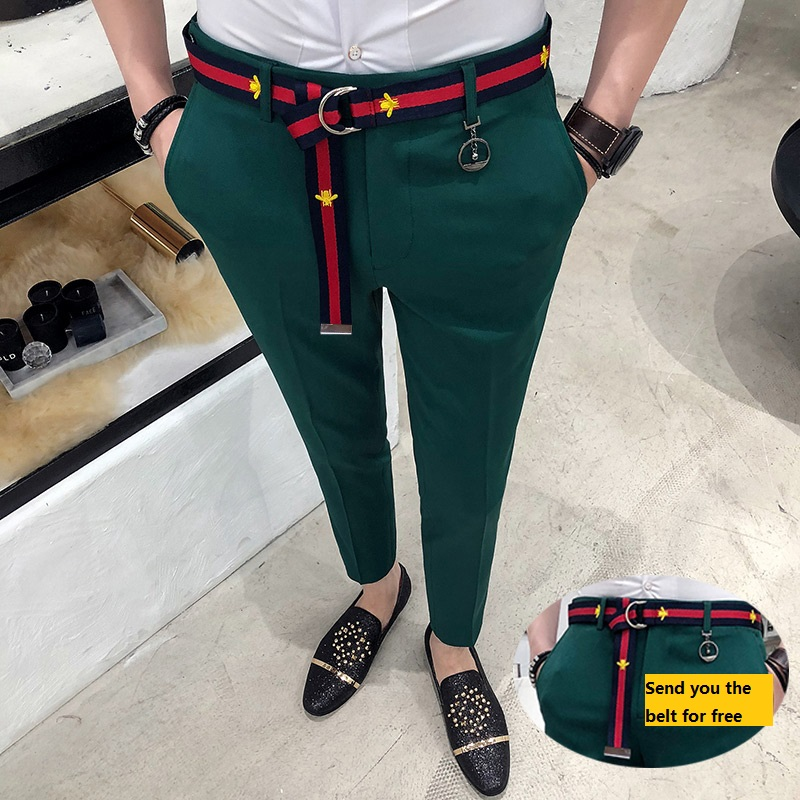 Mens Social Pants White Pants Mens British Style Trousers Mens Green Pants Office Dress Slim Fit Tight Red Social Club Pink
