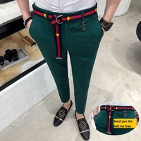 Trousers Mens Green Pants Mens Casual Pantalones Hombre Calca Masculina 2018 White British Style Red Social Club Slim Fit Tight