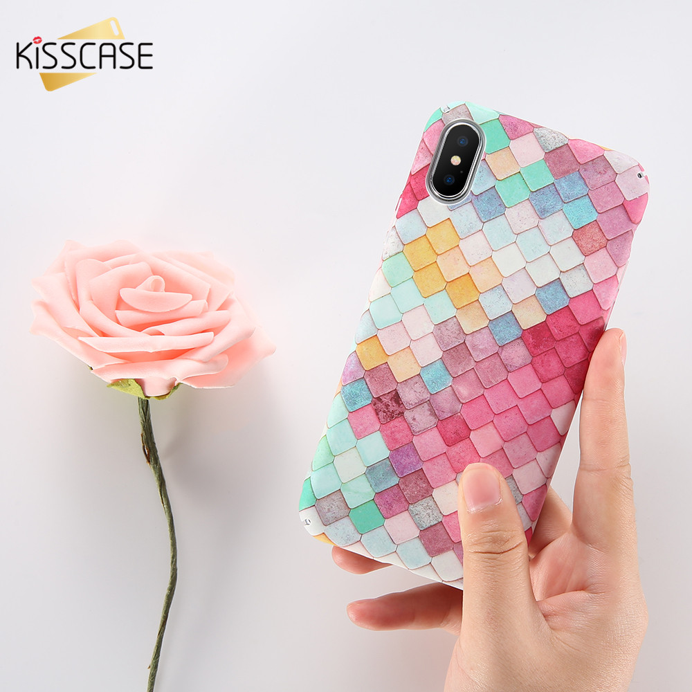 KISSCASE 3D Fish Scale Case para iPhone 6 7 5S X Case Coque para Samsung S8 S7 Note 8 Funda Cute Pink para Huawei P10 P9 Plus Cover