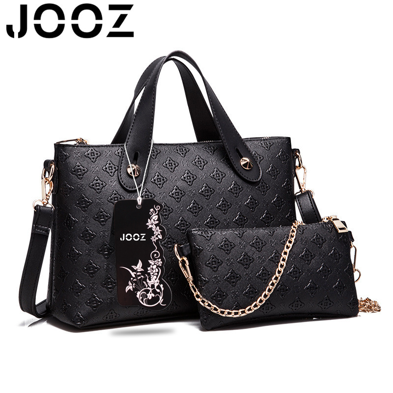 JOOZ Brand Socialite Luxury Lattice Female Handbag Lady PU Leather 2 Pcs Composite Bags Set Elegant Women Shoulder Crossbody Bag