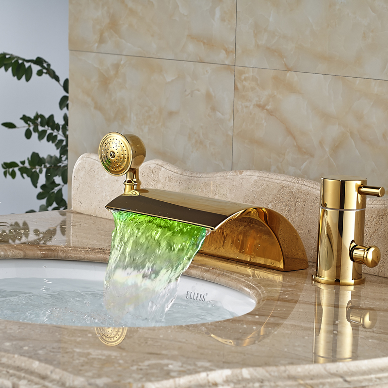 Deck Mount LED Light Brass Golden Bahtub Faucet Single Handle Waterfall Tub Mixer Tap with Hand